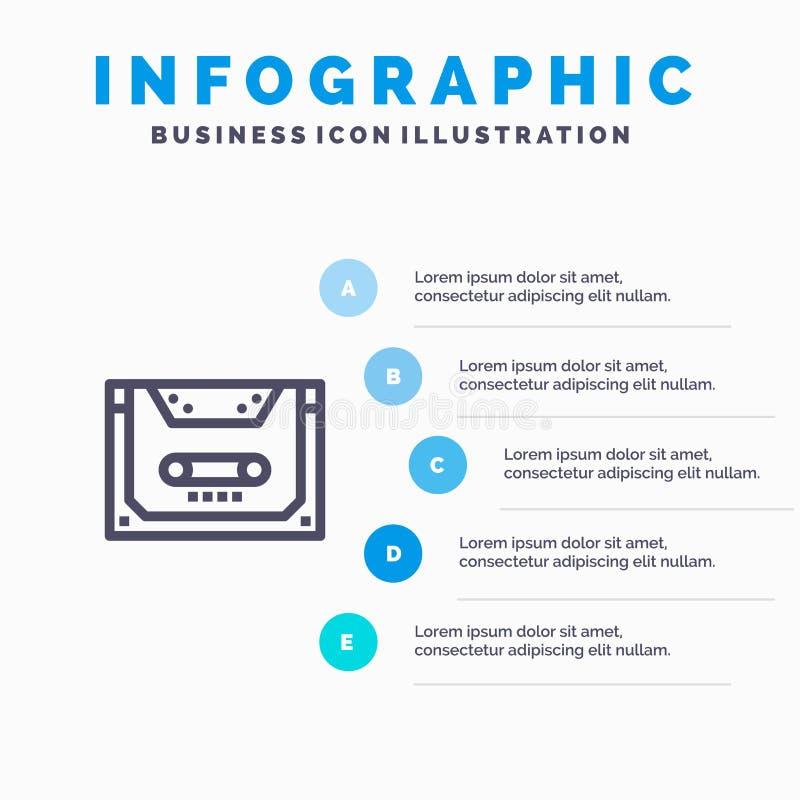 Analogon, Audio, Cassette, Compact, het pictogram van de Deklijn met infographicsachtergrond van de 5 stappenpresentatie stock illustratie
