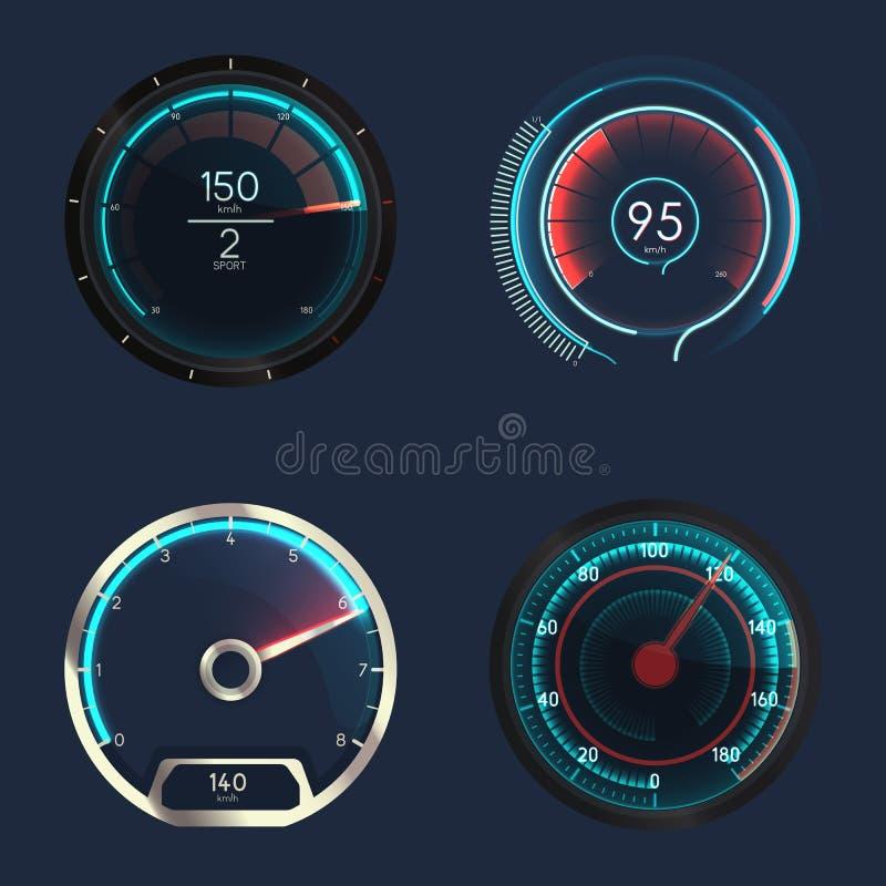 Analogowy i futurystyczny szybkościomierz lub wymiernik ilustracja wektor