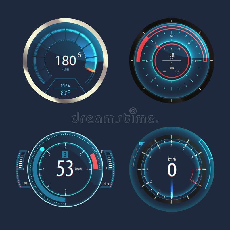 Analogowy szybkościomierz, drogomierz dla samochodowego prędkość panelu royalty ilustracja