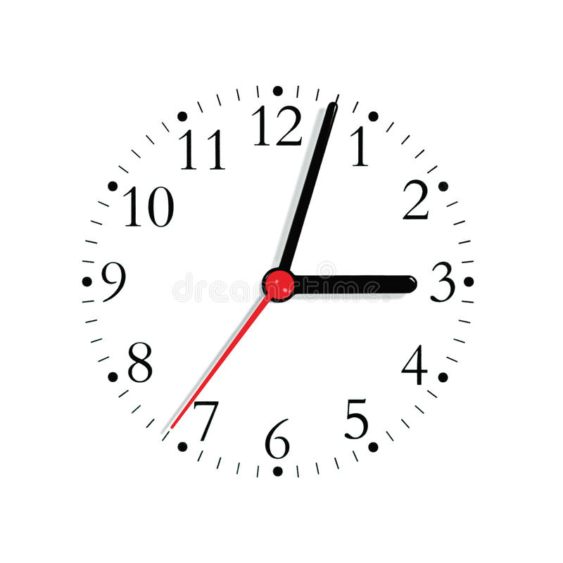 Analogue clock face dial in black and seconds hand in red at 3:03, large detailed isolated macro closeup royalty free stock photography