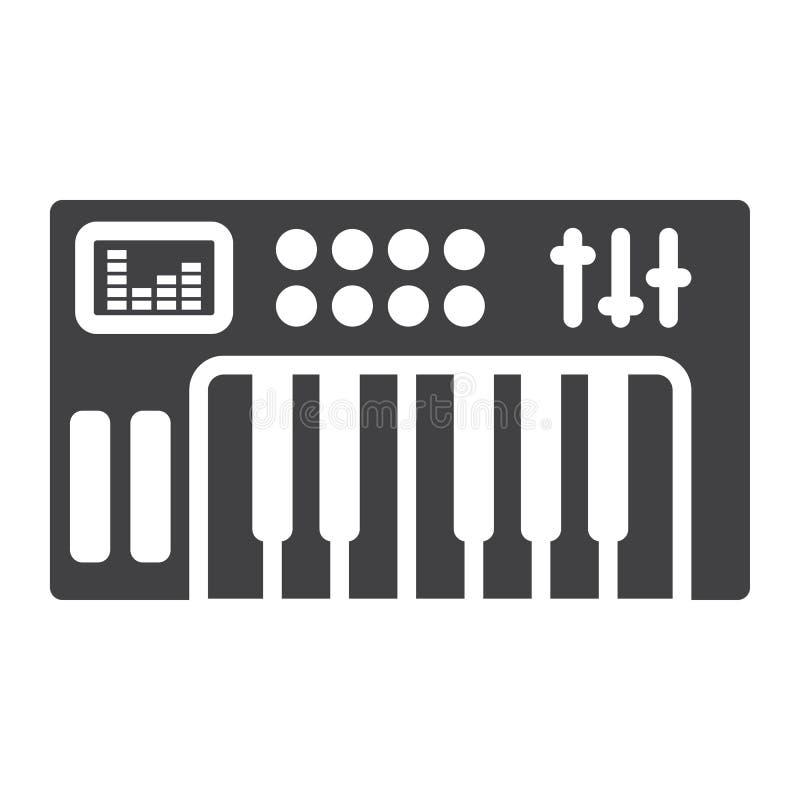 Analoog synthesizer glyph pictogram, muziekinstrument royalty-vrije illustratie