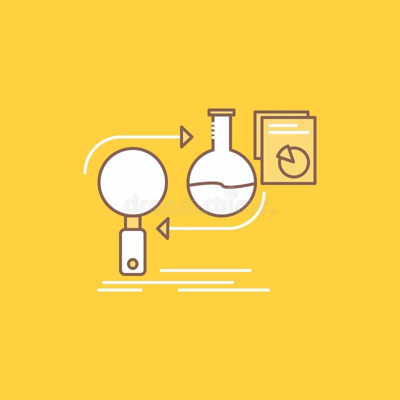 Analys affär, framkallar, utveckling, den plana linjen fylld symbol för marknaden H?rlig logoknapp ?ver gul bakgrund f?r UI och U stock illustrationer