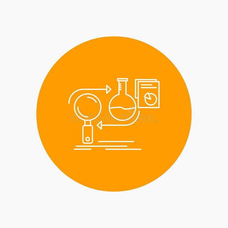 Analys affär, framkallar, utveckling, den vita linjen symbol för marknaden i cirkelbakgrund Vektorsymbolsillustration royaltyfri illustrationer