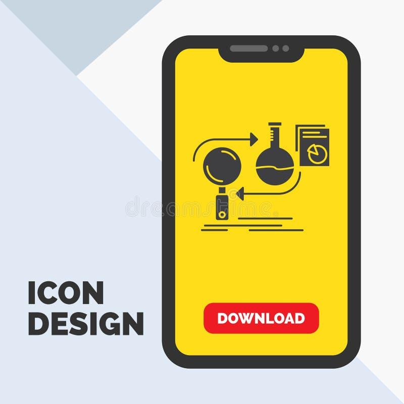 Analys affär, framkallar, utveckling, marknadsskårasymbol i mobilen för nedladdningsida Gul bakgrund vektor illustrationer