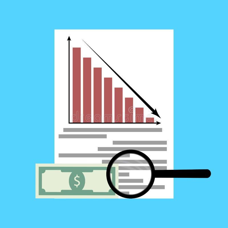 Analys av finanskriets vektor illustrationer