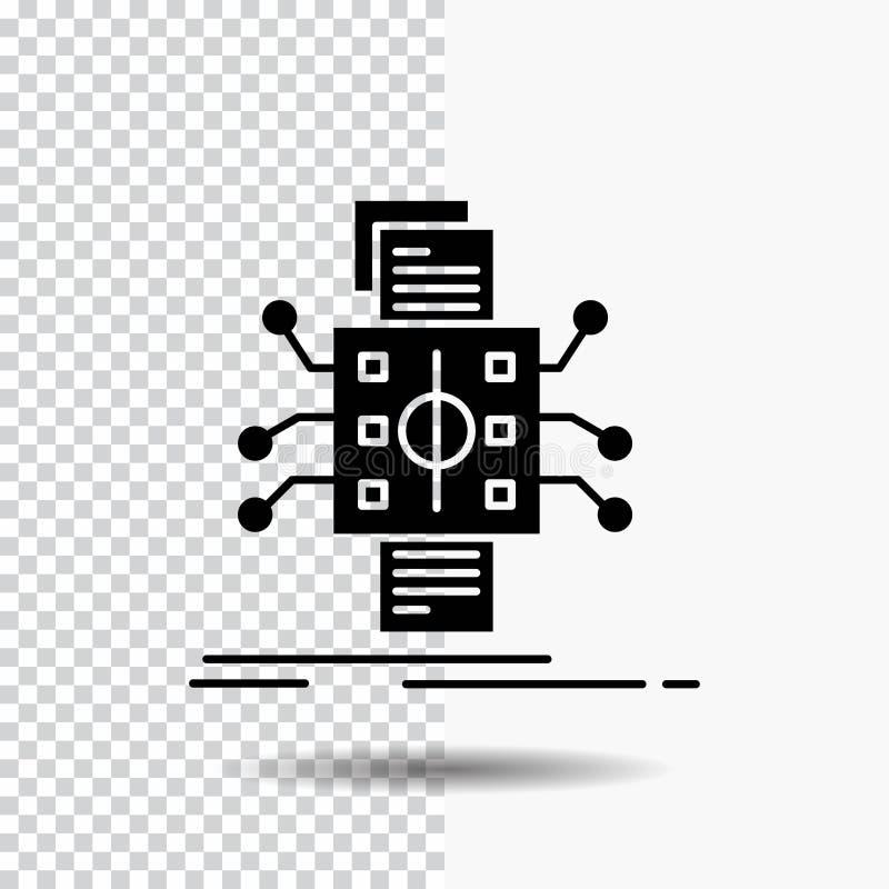 Analys data, utgångspunkt och att bearbeta och att anmäla skårasymbolen på genomskinlig bakgrund Svart symbol royaltyfri illustrationer