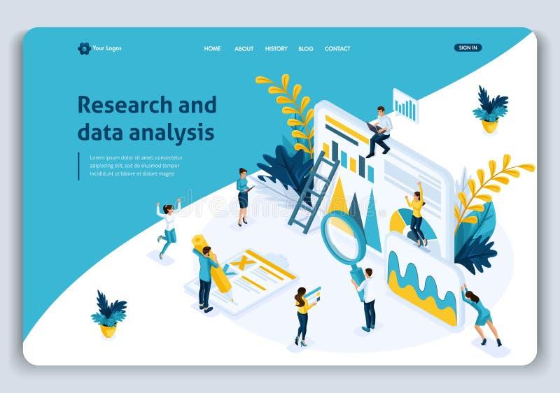 Analys för affär för begrepp för sida för Websitemalllandning isometrisk, bästa statistiska hjälpmedel i forskning och dataanalys royaltyfri illustrationer