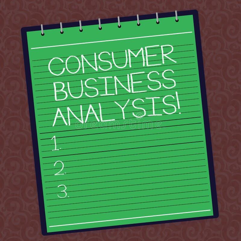 Analys för affär för konsument för textteckenvisning Begreppsmässig information om foto på målmarknaden s är mot efterkrav fodrad royaltyfri illustrationer