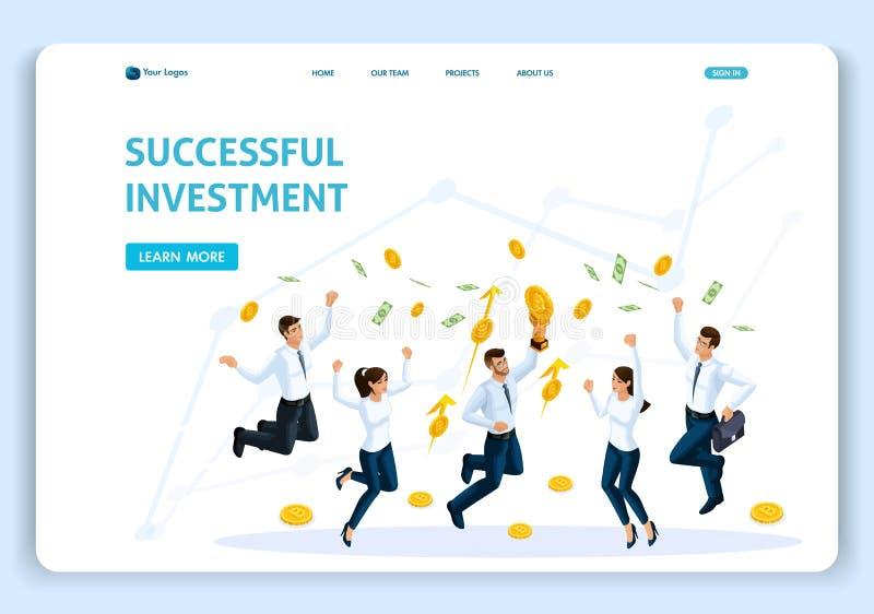Analys för affären för begreppet för sidan för Websitemalllandning hoppar isometrisk, den lyckade investeringen, lagarbete, anstä vektor illustrationer