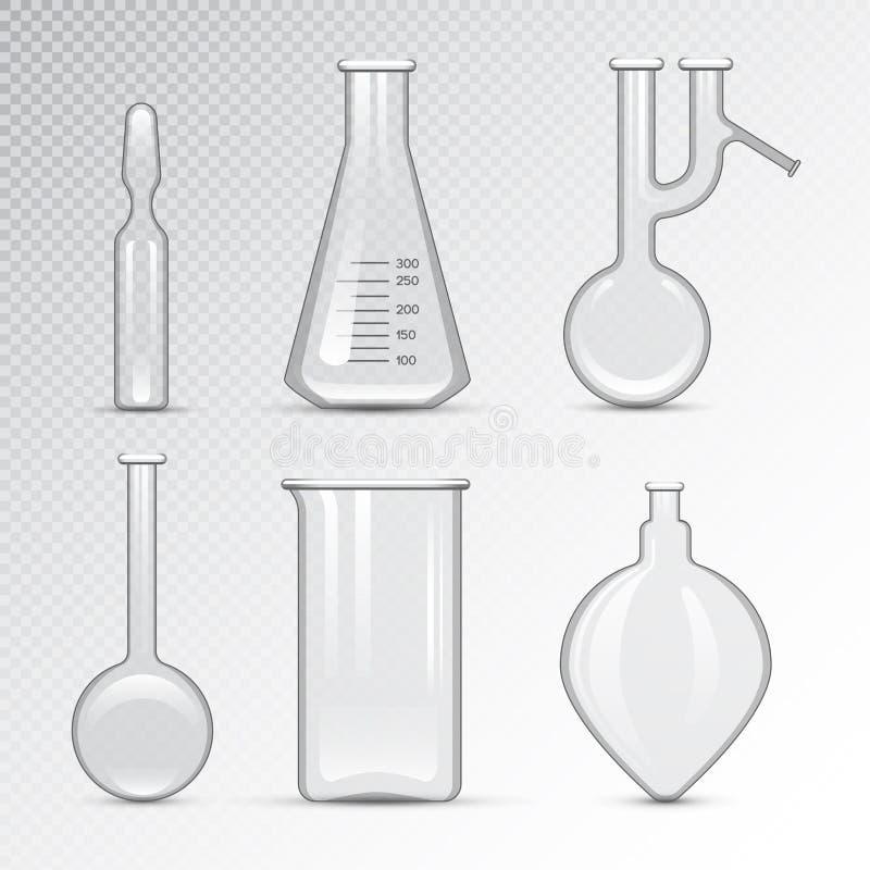 Analys för bioteknik för kemiskt för labbflaska för laboratorium 3d rör för glasföremål vätskeoch medicinsk vetenskaplig utrustni vektor illustrationer