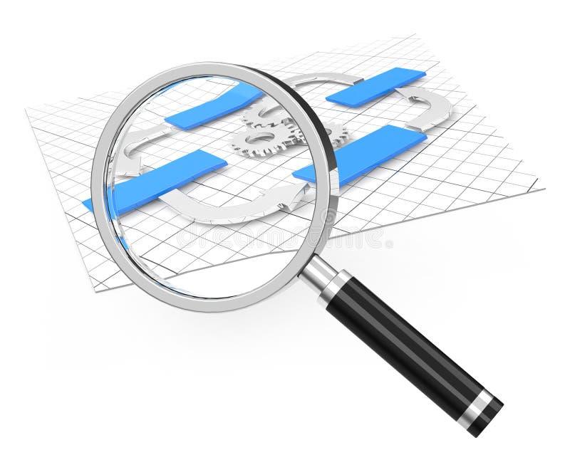 Analys för flödesdiagram royaltyfri illustrationer