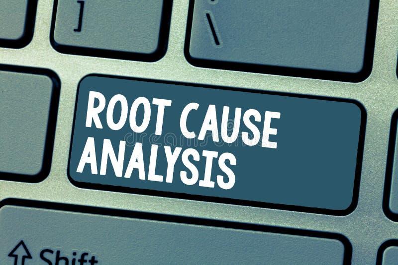 Analys för grundorsak för textteckenvisning Den begreppsmässiga fotometoden av problematt lösa identifierar felet eller problem arkivfoton