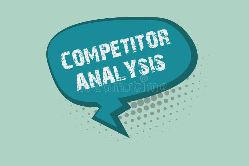 Analys för konkurrent för handskrifttexthandstil Begreppsbetydelsen bestämmer styrkasvagheten av den konkurrenskraftiga marknaden royaltyfri illustrationer