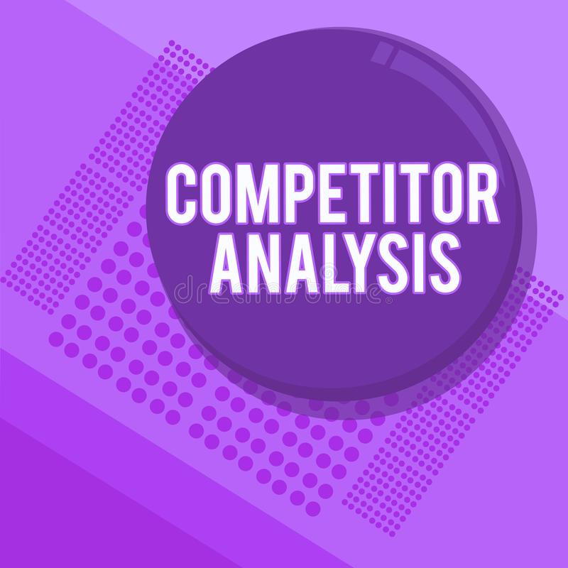 Analys för konkurrent för handskrifttexthandstil Begreppsbetydelsen bestämmer styrkasvagheten av den konkurrenskraftiga marknaden stock illustrationer