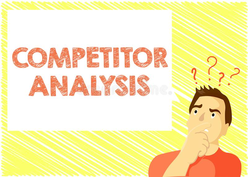 Analys för konkurrent för ordhandstiltext Affärsidéen för bestämmer styrkasvagheten av den konkurrenskraftiga marknaden stock illustrationer