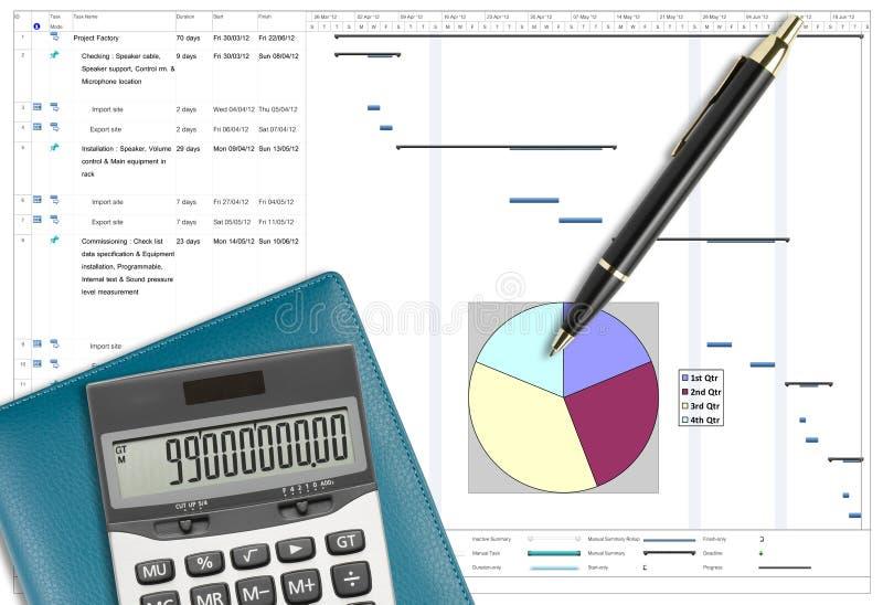 Analys för projektschema med pennan, räknemaskinen & anteckningsboken royaltyfri foto