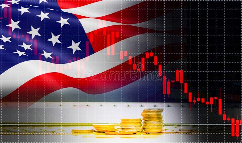 Analys för utbyte för aktiemarknad för bakgrund för graf för USA Amerika flaggaljusstake/indikator av finans för affär för ändrin arkivbilder