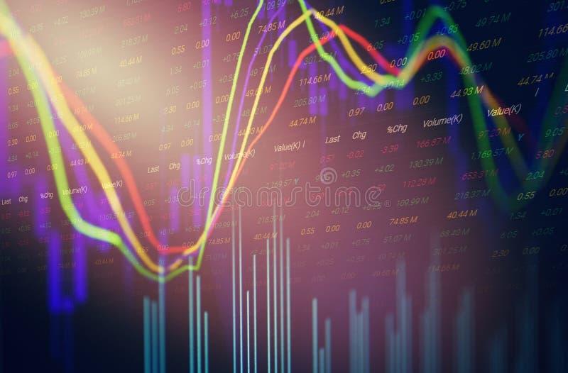 Analys för utbyte för aktiemarknad för volymljusstakegraf/indikatorhandelgraf stock illustrationer