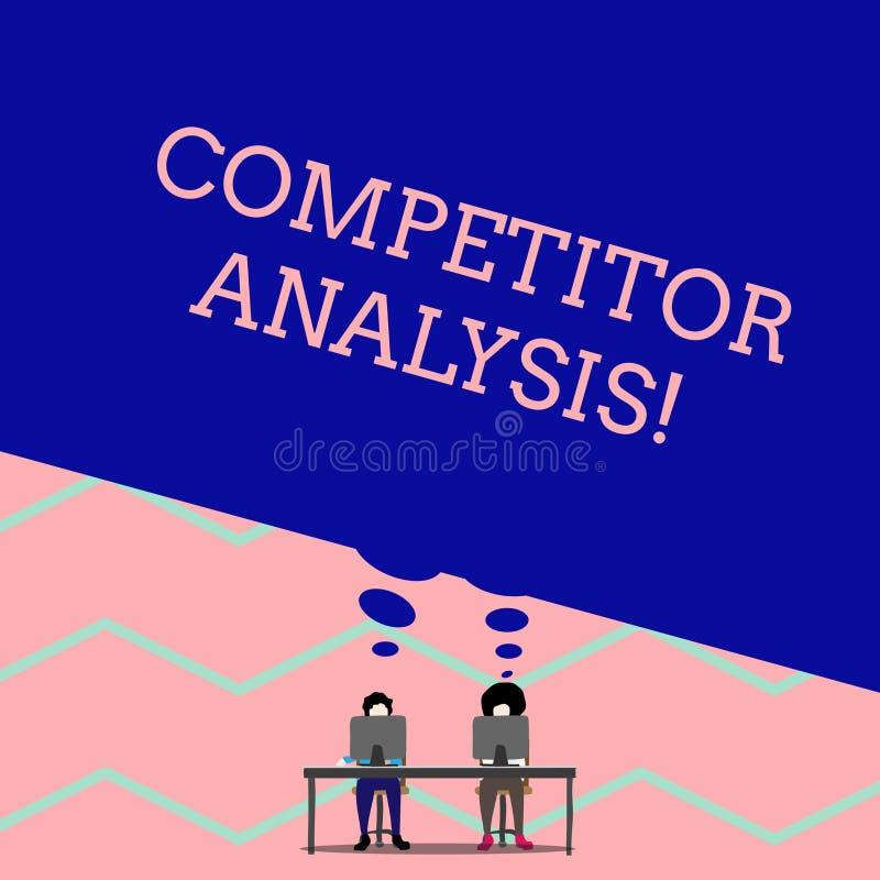 Analys f?r konkurrent f?r ordhandstiltext Affärsidé för att bestämma styrkasvagheten av mannen för konkurrenskraftig marknad stock illustrationer