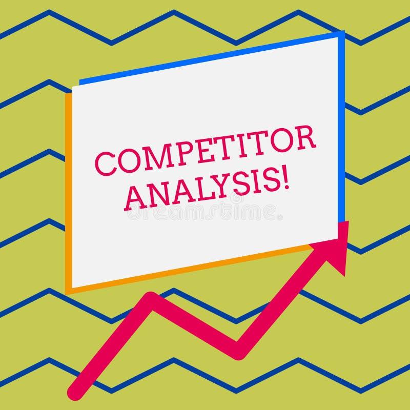 Analys f?r konkurrent f?r ordhandstiltext Aff?rsid?en f?r best?mmer styrkasvagheten av den konkurrenskraftiga marknaden vektor illustrationer