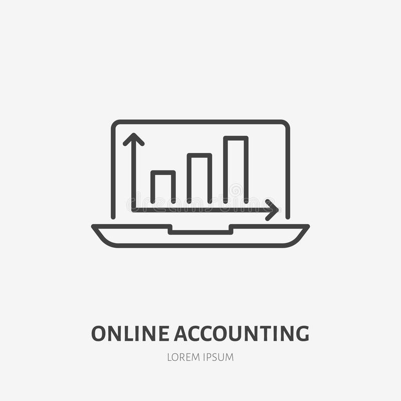Analys infographic plan linje symbol för finans Online-redovisning, schematecken Tunn linjär logo för lagligt finansiellt stock illustrationer