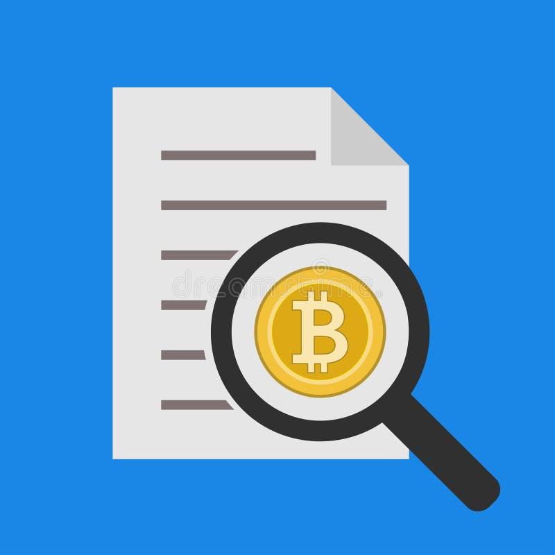 Analys och anmäla den Bitcoin vektorsymbolen i plan stil som isoleras på blå bakgrund royaltyfri illustrationer