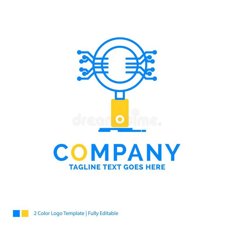 Analys sökande, information, forskning, blå gul Bu för säkerhet stock illustrationer