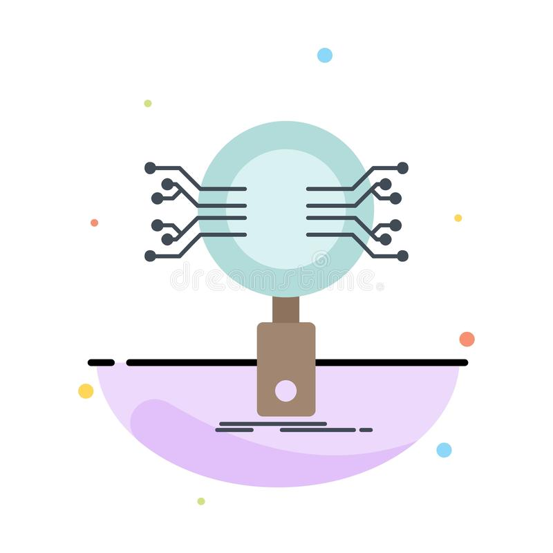 Analys sökande, information, forskning, för färgsymbol för säkerhet plan vektor royaltyfri illustrationer