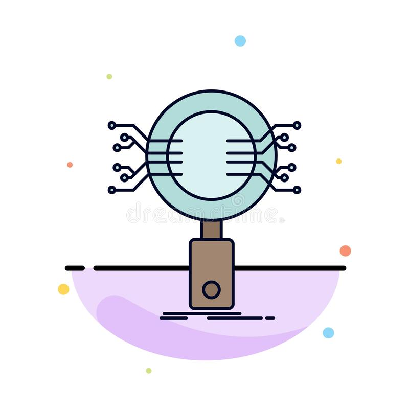 Analys sökande, information, forskning, för färgsymbol för säkerhet plan vektor stock illustrationer