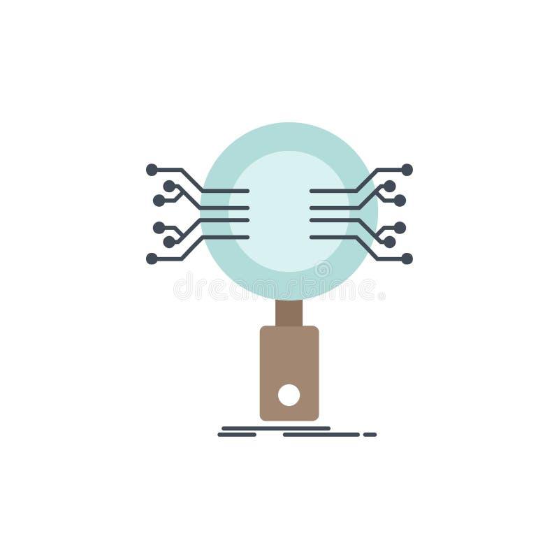 Analys sökande, information, forskning, för färgsymbol för säkerhet plan vektor vektor illustrationer