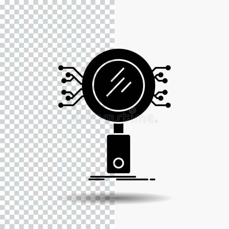 Analys sökande, information, forskning, säkerhetsskårasymbol på genomskinlig bakgrund Svart symbol royaltyfri illustrationer