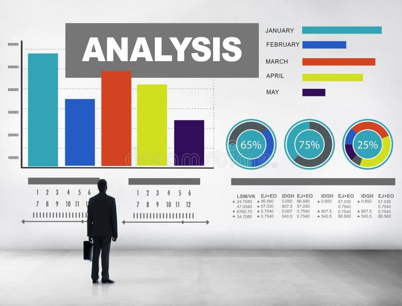 Analys som analyserar begrepp för statisitc för data för informationsstånggraf arkivfoton