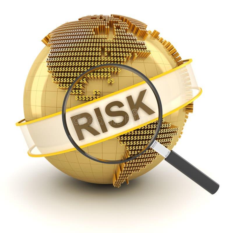 Analysant le risque financier global, 3d rendent illustration libre de droits