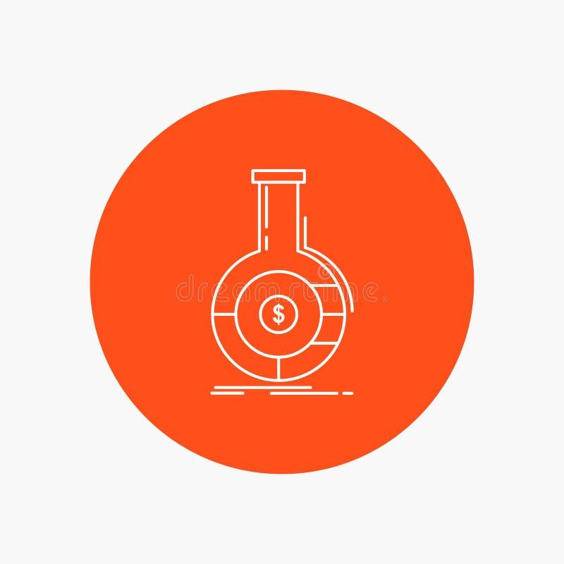 Analyse, Analytics, Bankwesen, Geschäft, weiße finanzielllinie Ikone im Kreishintergrund Vektorikonenillustration vektor abbildung