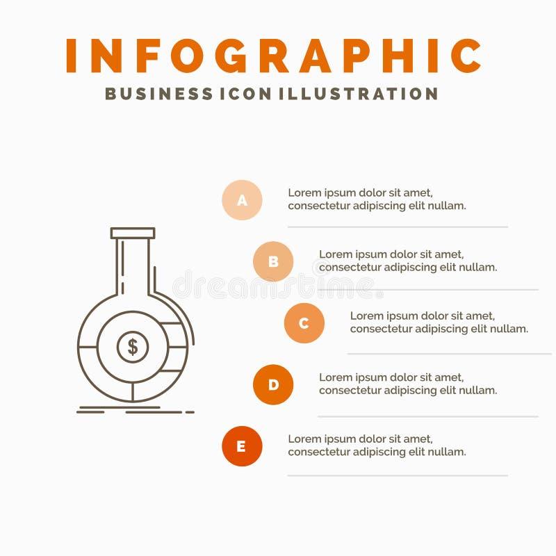Analyse, Analytics, Bankwesen, Gesch?ft, Finanz-Infographics-Schablone f?r Website und Darstellung Linie graue Ikone mit Orange vektor abbildung