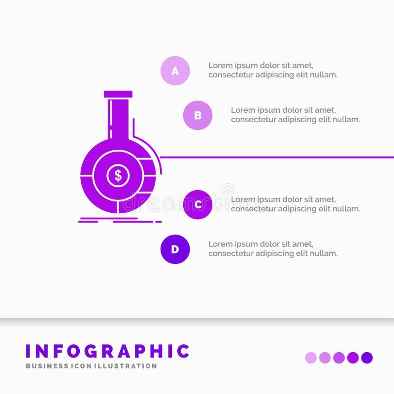 Analyse, Analytics, Bankwesen, Gesch?ft, Finanz-Infographics-Schablone f?r Website und Darstellung Purpurrote Ikone des GLyph vektor abbildung