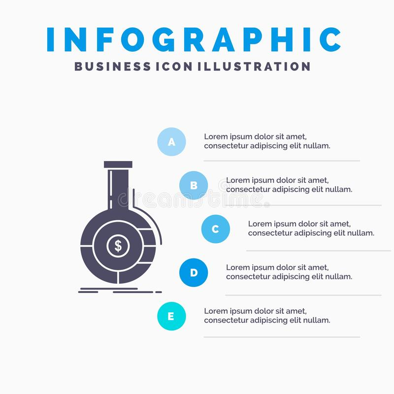 Analyse, analytics, bankwezen, zaken, financieel Infographics-Malplaatje voor Website en Presentatie GLyph Grijs pictogram met Bl vector illustratie