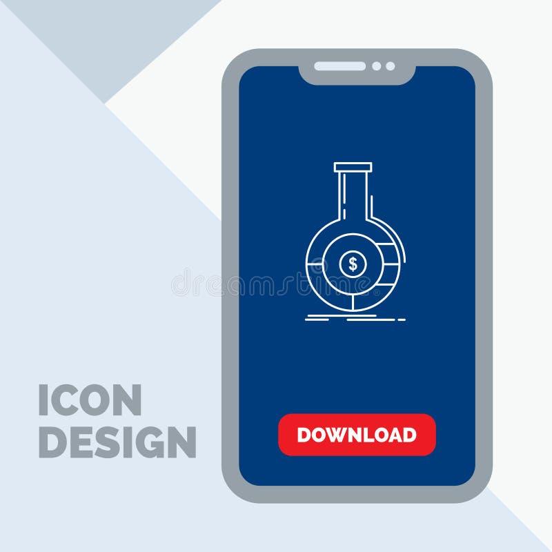 Analyse, analytics, bankwezen, zaken, financieel Lijnpictogram in Mobiel voor Downloadpagina royalty-vrije illustratie