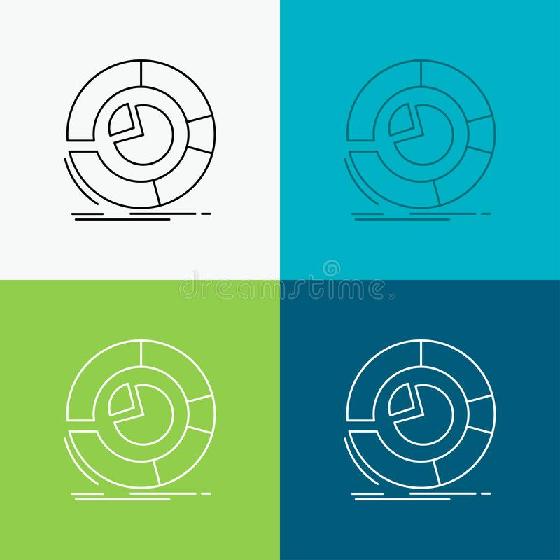 Analyse, Analytics, Geschäft, Diagramm, Kreisdiagramm Ikone über verschiedenem Hintergrund r ENV stock abbildung