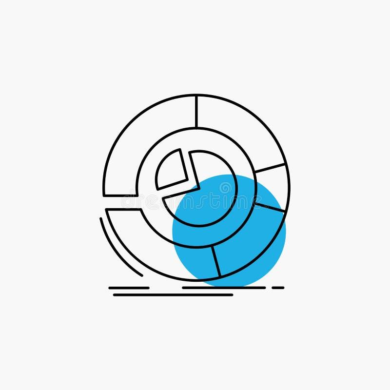 Analyse, Analytics, Geschäft, Diagramm, Kreisdiagramm Linie Ikone stock abbildung