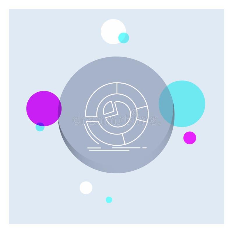 Analyse, Analytics, Geschäft, Diagramm, Kreisdiagramm weiße Linie Ikonen-bunter Kreis-Hintergrund lizenzfreie abbildung