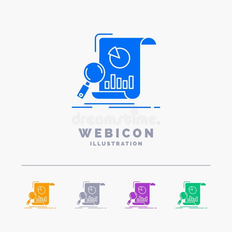 Analyse, Analytics, Geschäft, finanziell, Forschung 5 Farbeglyph-Netz-Ikonen-Schablone lokalisiert auf Weiß Auch im corel abgehob vektor abbildung