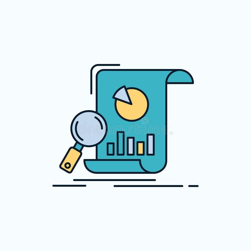 Analyse, Analytics, Geschäft, finanziell, Forschung flache Ikone r vektor abbildung