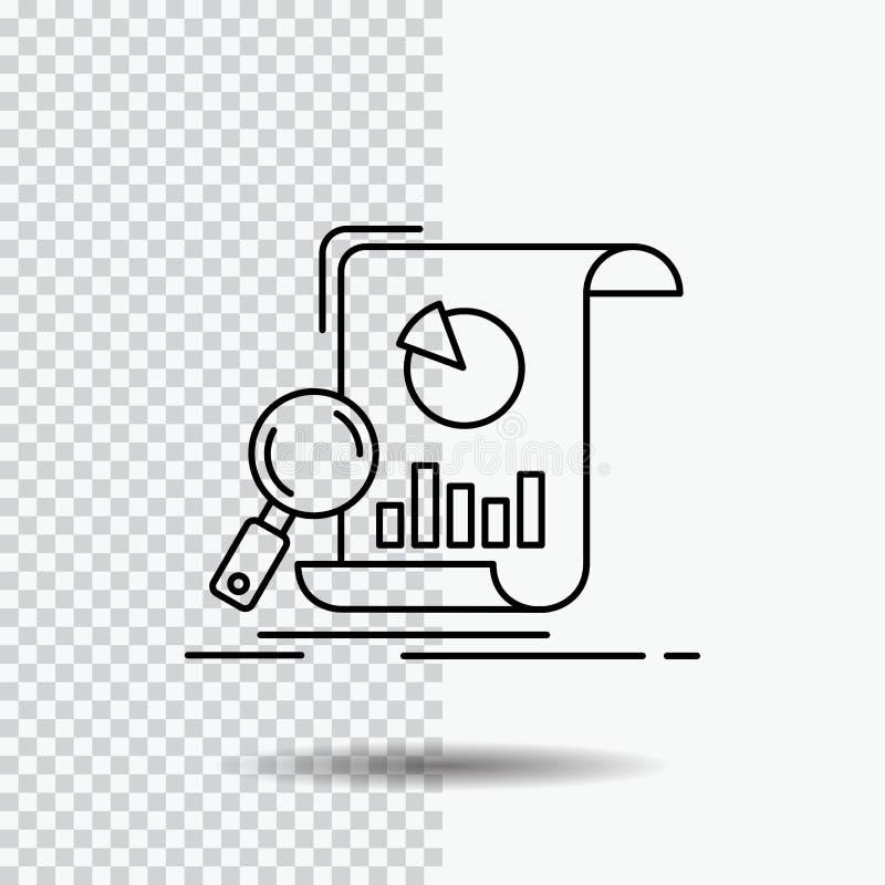 Analyse, Analytics, Geschäft, finanziell, Forschung Linie Ikone auf transparentem Hintergrund Schwarze Ikonenvektorillustration lizenzfreie abbildung