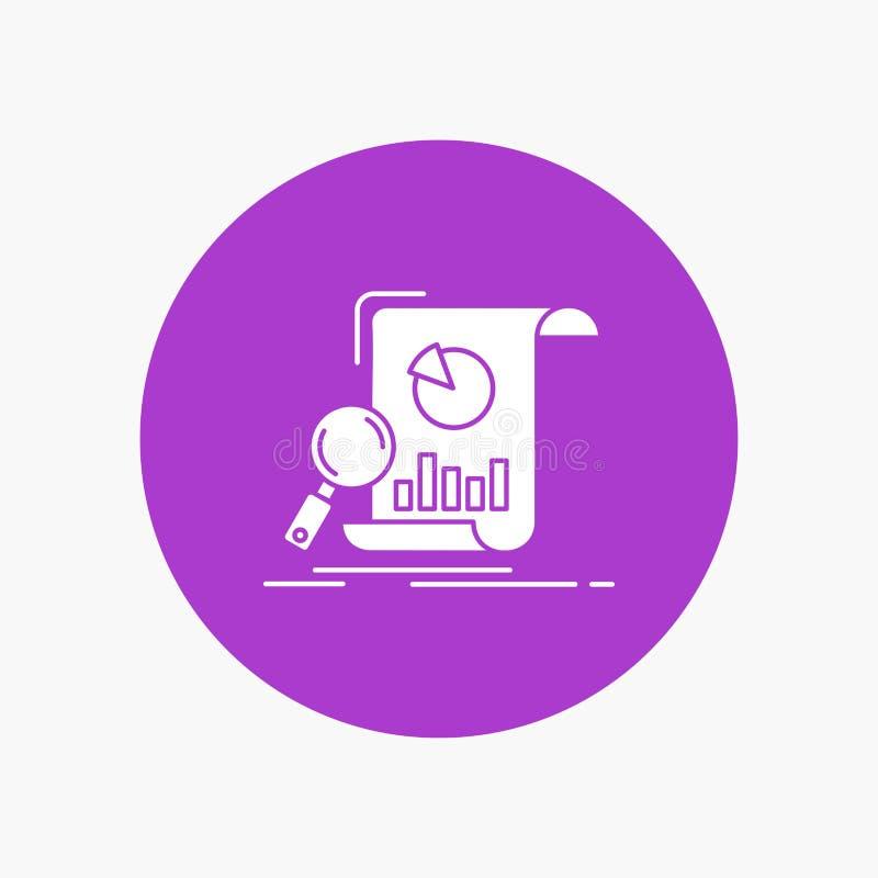 Analyse, Analytics, Geschäft, finanziell, Forschung weiße Glyph-Ikone im Kreis Vektor-Knopfillustration lizenzfreie abbildung