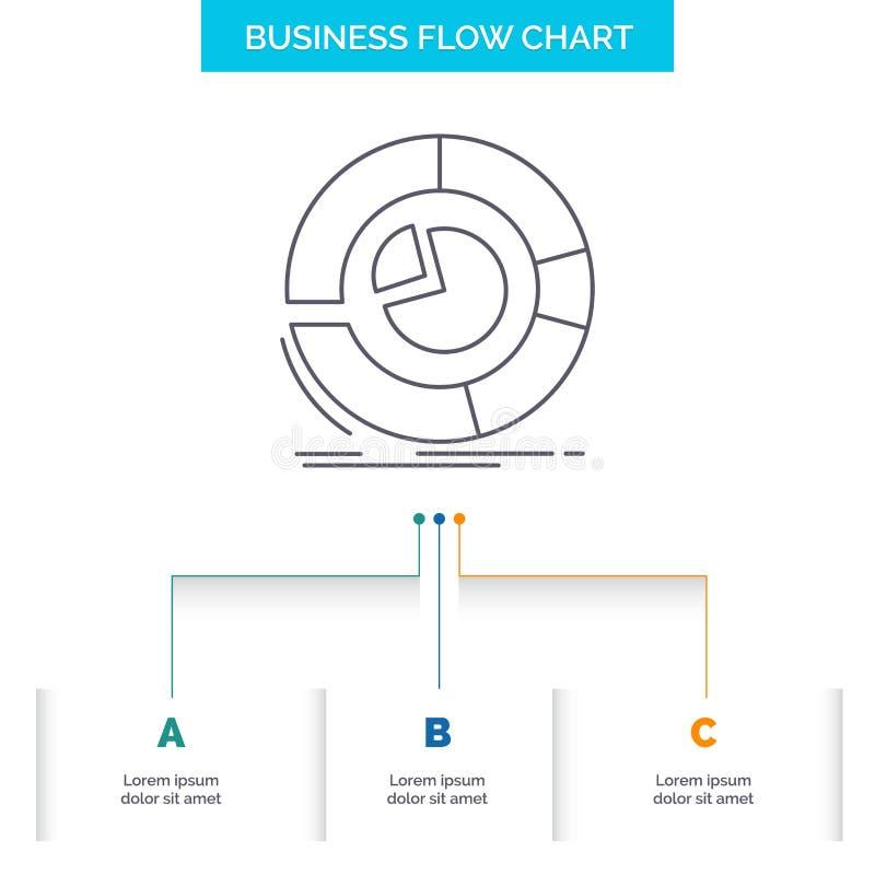 Analyse, Analytics, Gesch?ft, Diagramm, Kreisdiagramm Gesch?fts-Flussdiagramm-Entwurf mit 3 Schritten Linie Ikone f?r Darstellung stock abbildung