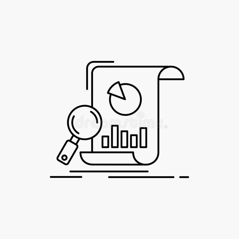 Analyse, Analytics, Gesch?ft, finanziell, Forschung Linie Ikone Vektor lokalisierte Illustration stock abbildung