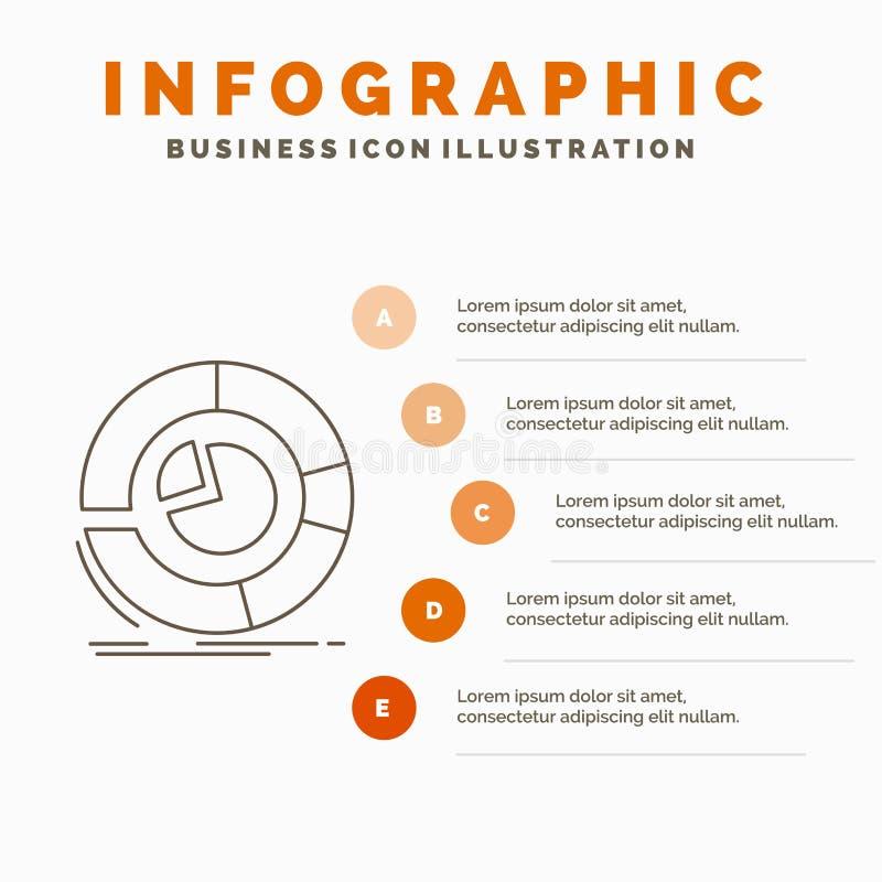 Analyse, analytics, zaken, diagram, het Malplaatje van cirkeldiagraminfographics voor Website en Presentatie Lijn Grijs pictogram vector illustratie