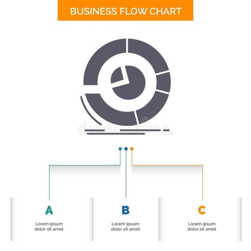 Analyse, analytics, zaken, diagram, het Ontwerp cirkeldiagram van de Bedrijfsstroomgrafiek met 3 Stappen Glyphpictogram voor Pres stock illustratie