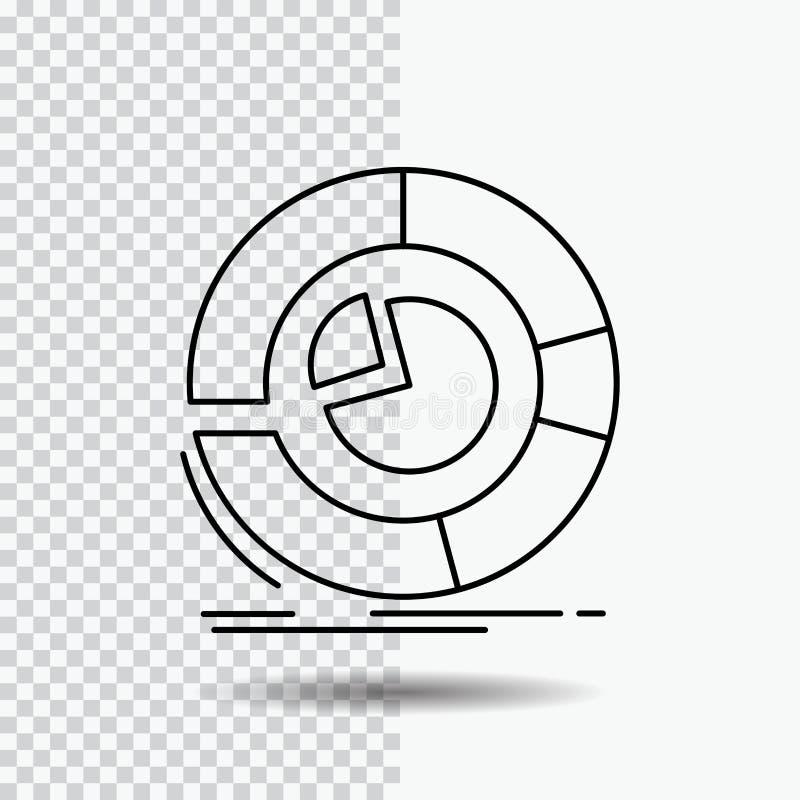 Analyse, analytics, zaken, diagram, het Pictogram van de cirkeldiagramlijn op Transparante Achtergrond Zwarte pictogram vectorill vector illustratie